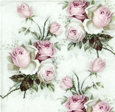 Decoupage Roses - 4x vintage bouquet paper napkins for decoupage craft