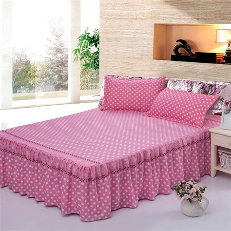 pink bed skirt full pink dots printed bedclothes bedspread cotton bed skirts