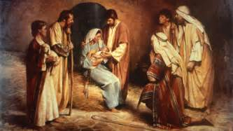 Birth of jesus painting by del parson