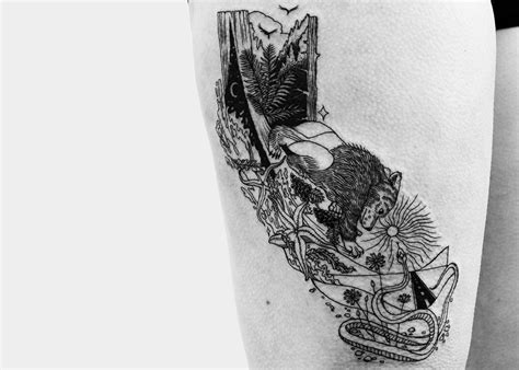 fine line tattoo style line tattoos in a vintage illustration style by a b m