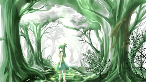 wallpaper green anime 1920x1080 green anime beauty forest desktop pc and mac