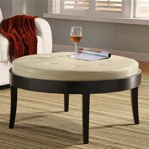 round tufted ottoman coffee table round cocktail ottoman table with white leather tufted top