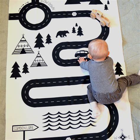play mat modern black and white childrens playmat car