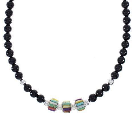 sterling silver multicolor navajo bead necklace rx91570