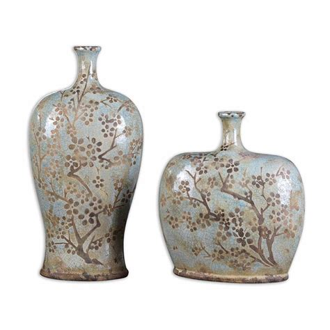 home decor ceramics uttermost 19658 citrita decorative ceramic bottles set of