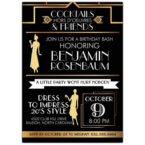 roaring twenties invitation template roaring 20s typography birthday invitations paperstyle