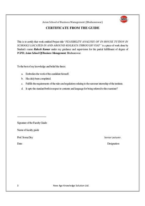 Kidzee Experience Letter feasibility anlysis of in house tutions in schools located