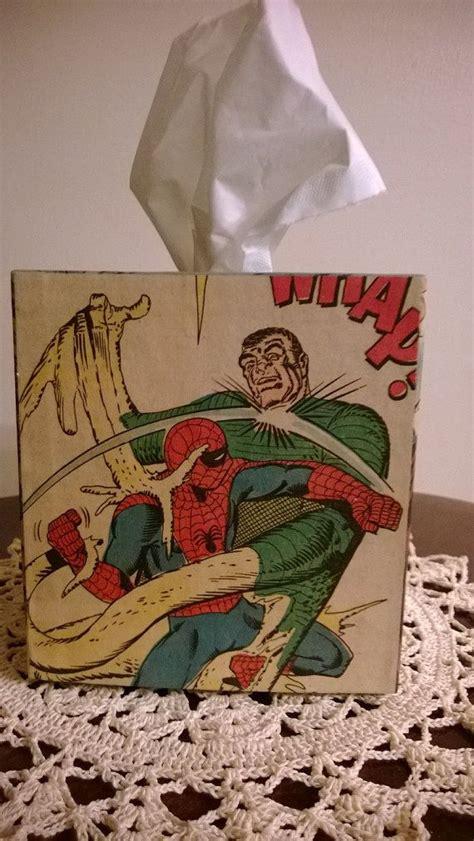 decoupage comic book spider comic book decoupage tissue box cover