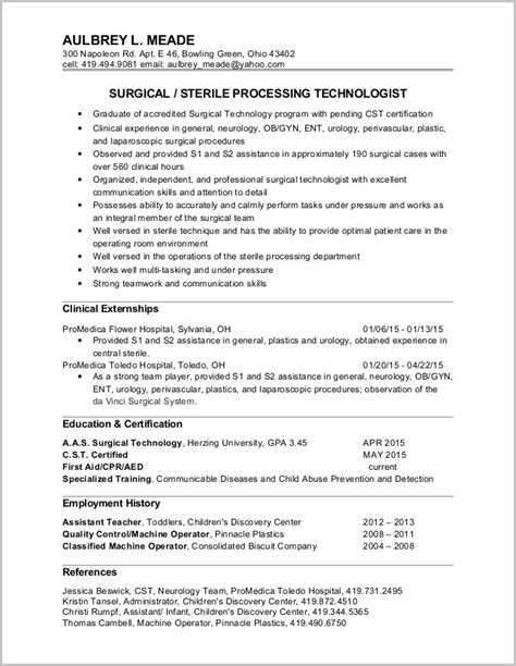 Surgical Assistant Resume by Free Surgical Tech Resume Sles Resume Resume Exles Rwld6bbzw8