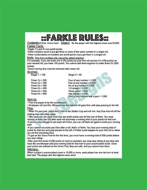 printable directions for farkle pdf 8 5x11 instant download farkle rules farkle yard game