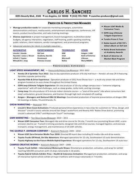 best executive producer resume exles ideas exle