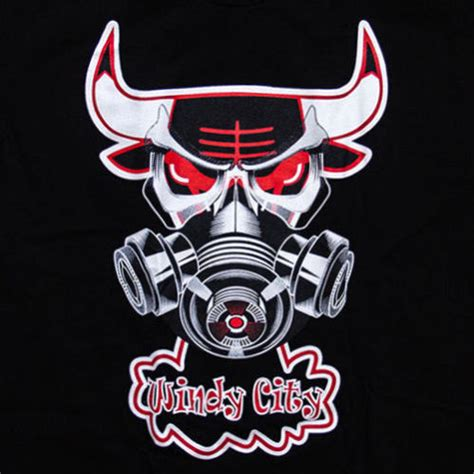 Tshirt Kaos Windy City Bulls chicago bulls basketball windy city steaming gas mask bull
