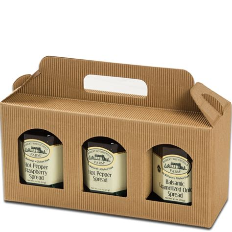 Plastic Window Box Liners - jar gift box natural textured rib window 3 jar carrier jar gift boxes mrtakeoutbags