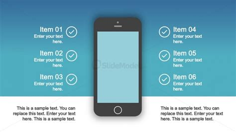 presentation templates for mobile ios mobile silhouette with six elements slidemodel