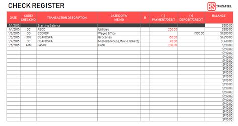 Excel Checkbook Register Template Printable Checkbook Register Free Excel Checkbook Template