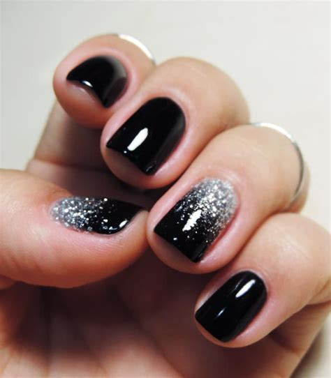Nägel In Schwarz 3438 by Tutorial Unhas Pretas Ombr 233 Glitter Prata