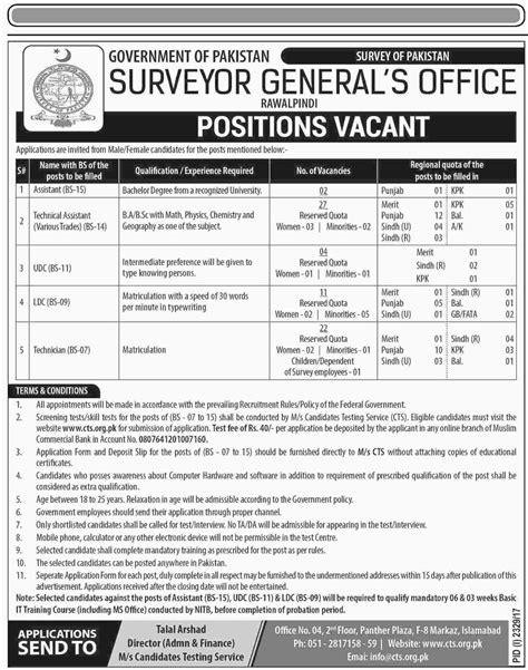 Surveyor Jobs - job vacancies in surveyor general s office rawalpindi november 2017