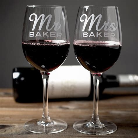 Personalised Set Of 2 Wine Glasses   Mr & Mrs, A Romantic