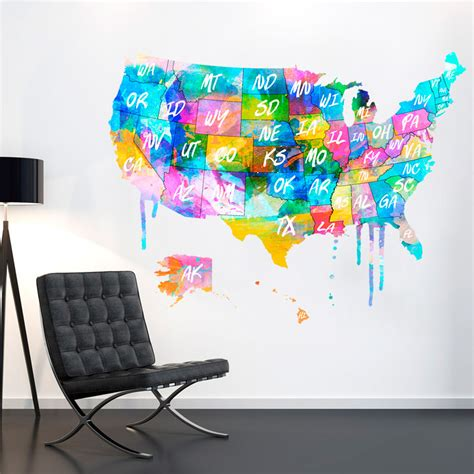 map usa vinyl wall decal awesome united states map wall decal united