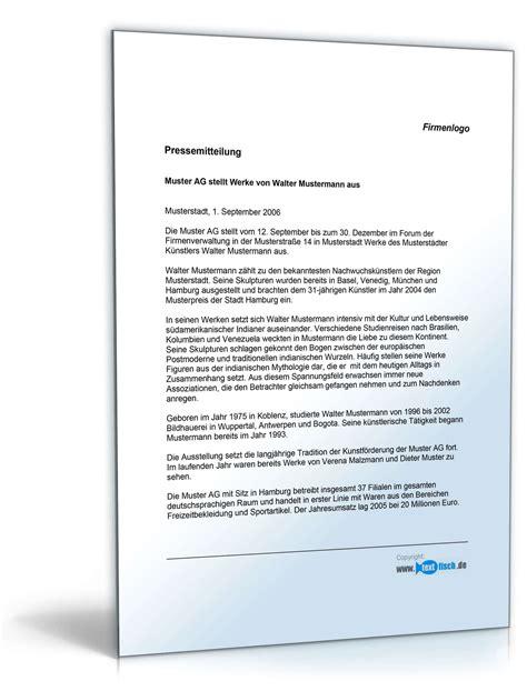 Vorlage Word Pressemitteilung Pressemitteilung 252 Ber Neue Ausstellung Unternehmen Muster Zum