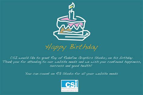 client birthday card template birthday wishes to roy of redefine graphics studio csi