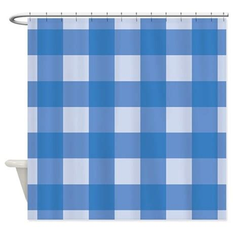 Gingham Shower Curtain by Gingham Check Blue Shower Curtain By Mainstreethomewares2