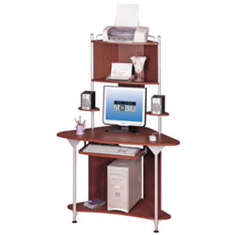A Tower Corner Computer Desk Techni Mobili Corner Tower Computer Desk 64 H X 25 D X 45 W Mahogany By Office Depot Officemax