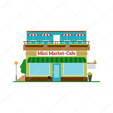 mini market cafe flat style icon stock vector