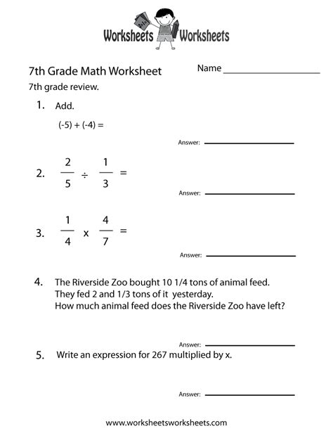 Printable Division Worksheets For 7th Grade | seventh grade math practice worksheet free printable