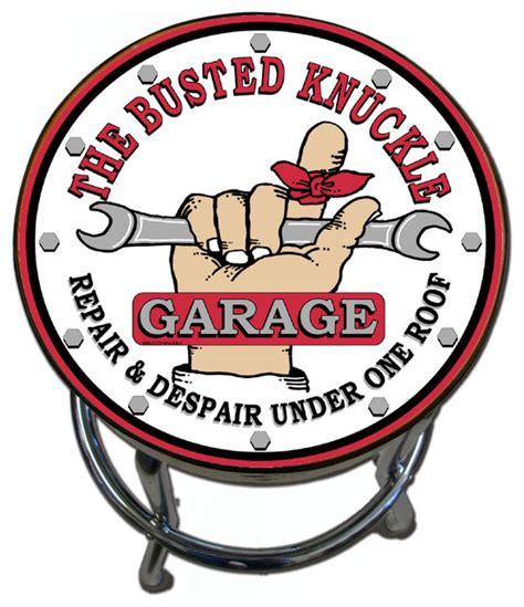 Garage Stools With Logos by Busted Knuckle Garage White Vintage Logo Stool With Swivel