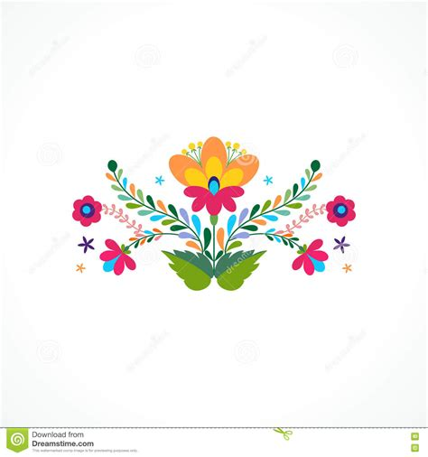Mexico Flowers Ornament. Vector Illustration. Stock Vector