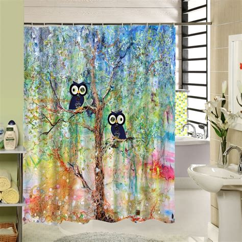 owl print shower curtains colorful crayon owl designer shower curtains with beige