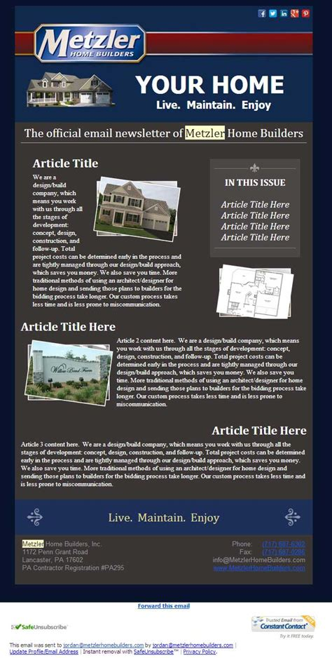 constant contact template width constant contact newsletter design metzler home builders