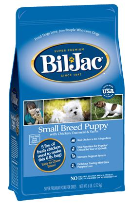 bil jac puppy small breed puppy food with real chicken bil jac premium