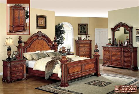 royal bedroom set meridian royal 4 piece panel bedroom set in cherry