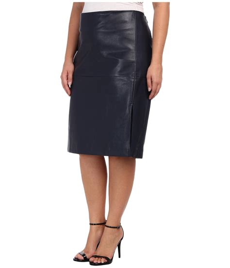 dkny plus size faux leather slit pencil skirt in black