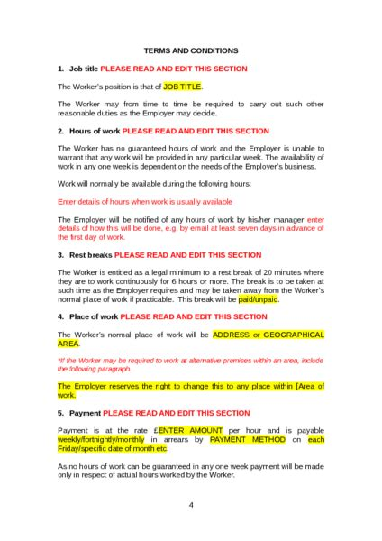 zero hours contract template to download