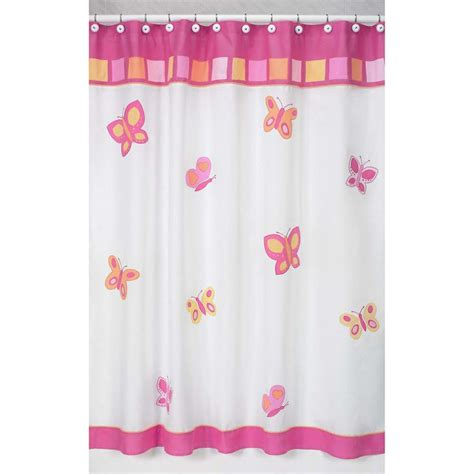 Childrens Shower Curtains Sweet Jojo Designs Pink And Orange Butterfly Shower Curtain