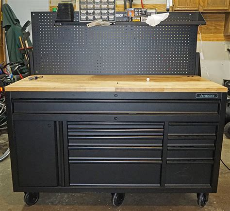 husky tool bench review husky 60 mobile workbench with sliding pegboard