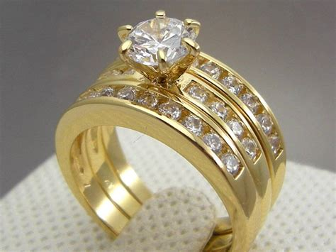 cathedral yellow gold filled wedding engagement 3 ring set size 9 8 7 6 ebay