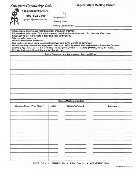 tailgate safety meeting template gate safety meeting form