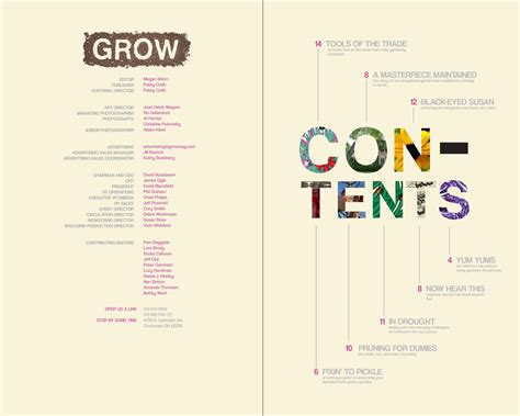 toni rogers grow magazine table of contents