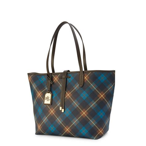 Plaid Tote ralph plaid faux leather tote in blue blue navy