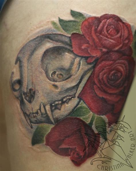 tattoo cat and rose lucky bamboo tattoo tattoos flower rose cat skull