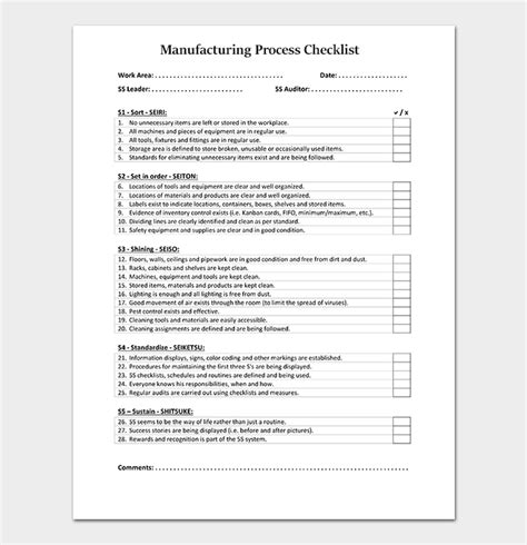 Process Checklist Template 20 Editable Checklists Excel Word Pdf Process Checklist Template