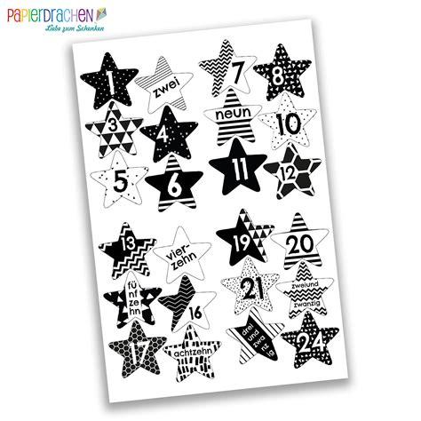Aufkleber Zahlen by 24 Adventskalender Zahlen Aufkleber Schwarz Wei 223 E Sterne