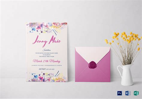 template for invitation card for debut floral watercolor debut invitation design template in word