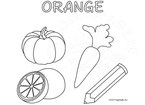 color activity sheet orange color coloring page