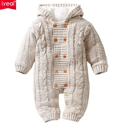 Baby Romper Cardigan Rg H iyeal thick warm infant baby rompers winter clothes newborn baby boy knitted sweater