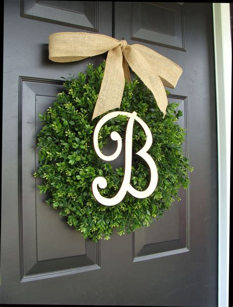 Boxwood Wreath Monogram Wreath And Monogram Boxwood Wreath Boxwood Monogram Wreath With Burlap Bow Housewarming Gift Wedding